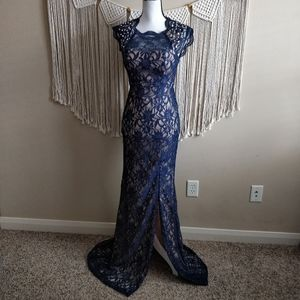 May Queen Vintage Queen Ann Blue Nude Lace Gown 4